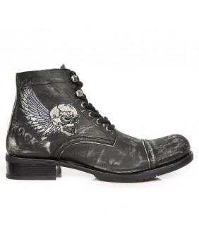 Chaussure montante noire vieillie en cuir New Rock M.GY31-S10