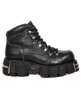 Chaussure montante noire en cuir New Rock M.1344-C11