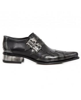 Chaussure acier et noire en cuir New Rock M.2358-C5