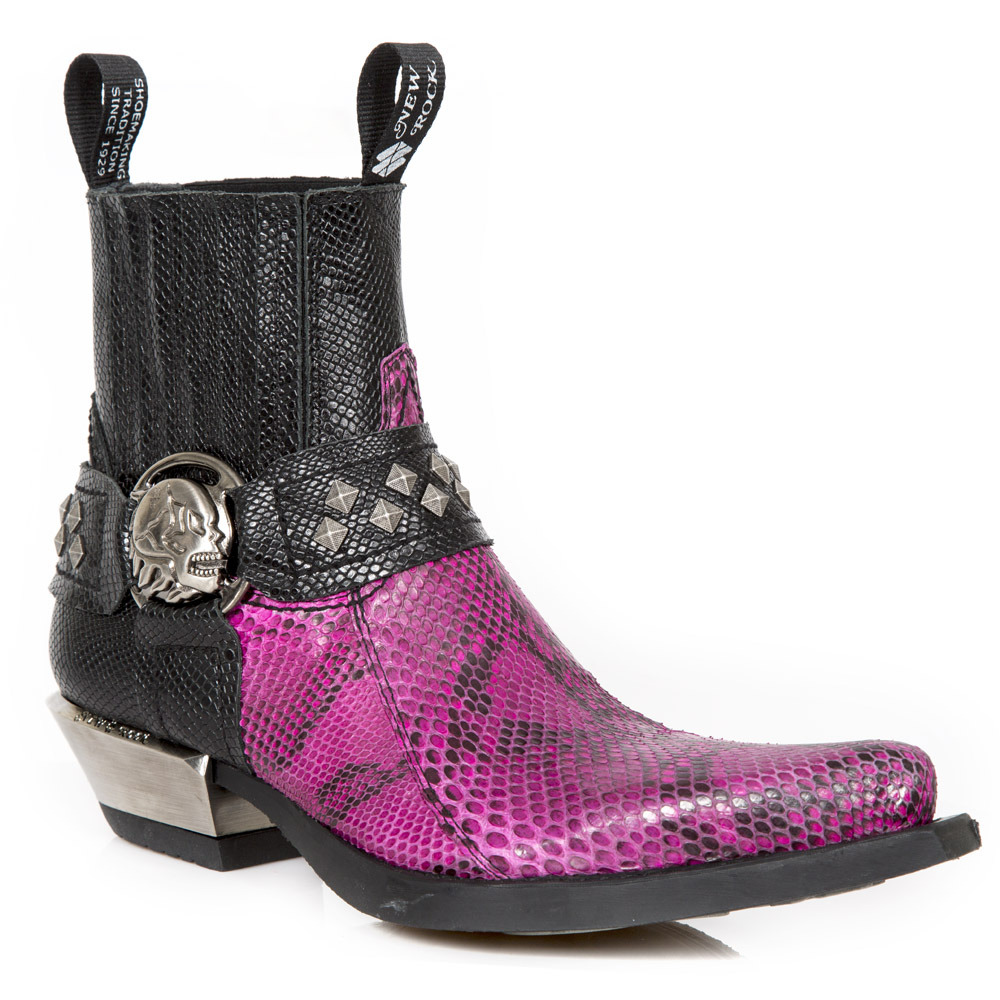 Boots en véritable python de la collection West de la marque New Rock
