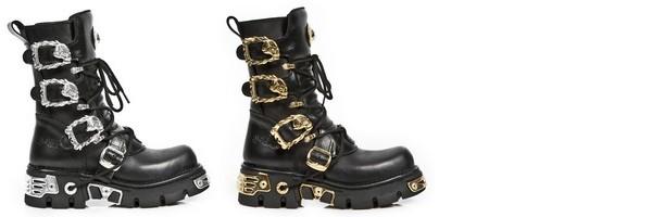 Stivali con zeppa con ricci placcati ora e ricci in Argento del collezione Luxury di New Rock