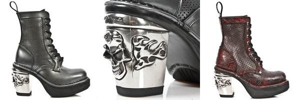 Bottines de la collection Nrk Skull marque New Rock
