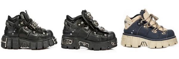 Chaussures compensées gothiques hommes et femmes de la collection Metallic de la célèbre marque New Rock