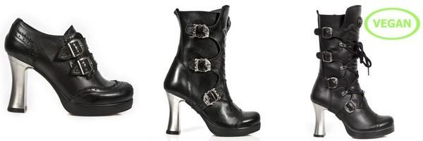 Calçado e botas de couro coleção Goth de New Rock