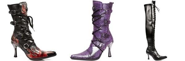 Stivale e stivali a metà coscia in pelle collezione Malicia di New Rock